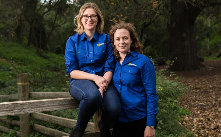Sarah Last (left) and Eleanor Toulmin have developed technology that mimics mother hens.