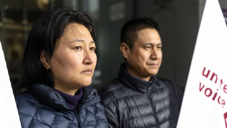 Kinley Zam (left) and Namgay Namgay were among nine Canberra cleaners who lost their jobs due to staff cuts after cleaning services at government buildings went to a new contractor, Broadspectrum and subcontractor Prompcorp.