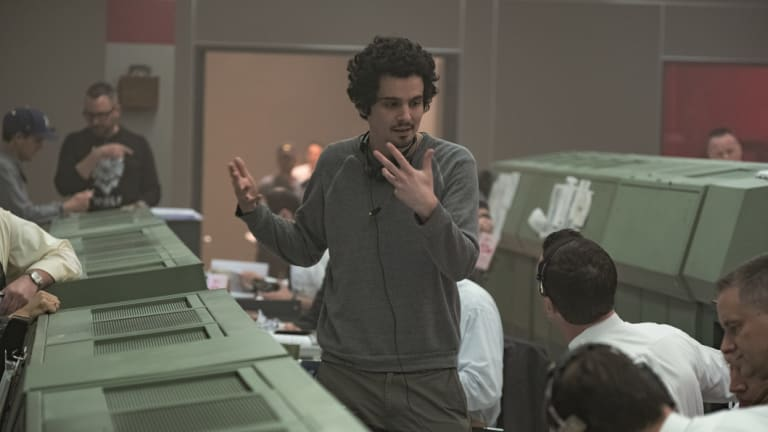 Director Damien Chazelle on the set of First Man.