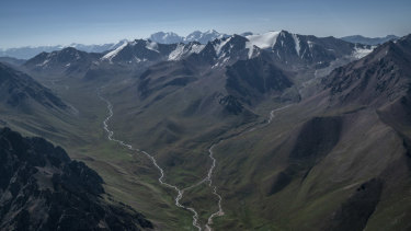 Steams flow down the Tien Shan mountain range, home to the Tuyuksu glacier.