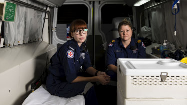 NSW Ambulance paramedic Clare Price with Assistant Commissioner Clare Beech at Eveleigh Ambulance Centre, Sydney.