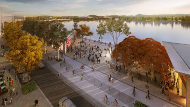 Artists impression of West Basin public areas from the City to the Lake 2015 Strategic Urban Design Framework