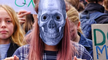 Some protesters wore make-up or masks.