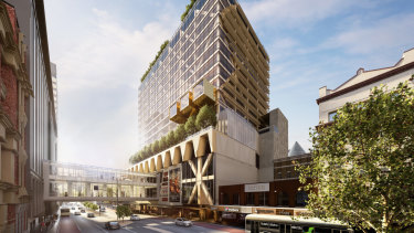 The new tower will rise above the 300 Lonsdale Street Melbourne Central mall.