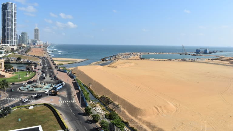 The land reclamation project  is changing the view from Colombo's Galle Face Green.