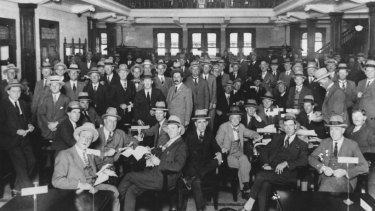 The gender of members at the Tattersalls Club has remained unchanged since its founding. Pictured is Settling day at the club for bookmakers and clients in 1926.