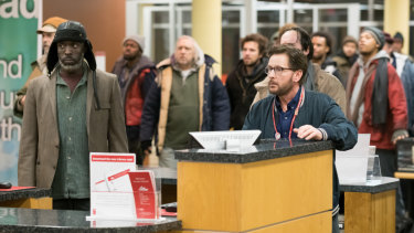 Michael K. Williams and Emilio Estevez star in The Public. Estevez also directs.