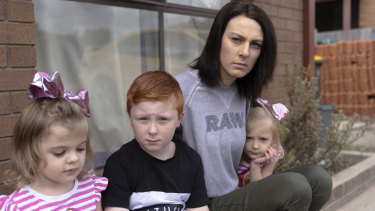Melissa says her three children   Ivy, 3, Travis, 8 and Kenley 3, have also suffered symptoms brought on by mould since living at their Gilmore address.