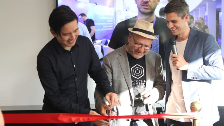 Blockchain centre founder Sam Lee, Digital X chairman Peter Rubinstein and Digital X chief executive Leigh Travers at the Blockchain centre opening.
