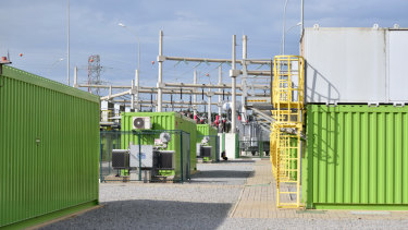 Electricity from the containers is fed into the site's substation and then the state's grid.