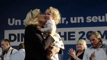Far-right leader Marine le Pen at a campaign rally.