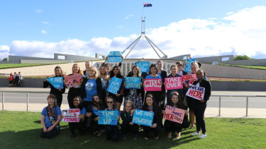 Kelly O'Dwyer with participants in theGirls Takeover Parliament.
