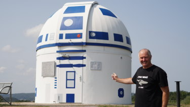 Self-confessed sci-fi nut, academic Hubert Zitt and his observatory tribute to Star Wars robot R2-D2.