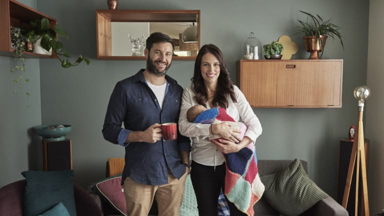 New Zealand Prime Minister Jacinda Ardern with her family on Wednesday.