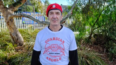Michael Makridis, 53, who runs the Melbourne chapter of safety patrol group Guardian Angels.