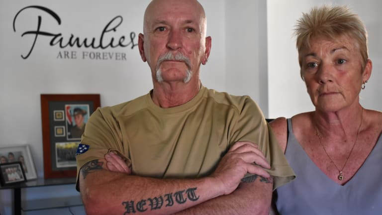 Brock's parents, Rick and Jan Hewitt. Brock has a tattoo on his arm similar to his father's.