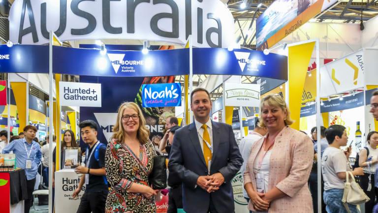 Trade Minister Steve Ciobo with Australian ambassasor to China, Jan Adams (left), at a Australian trade fair in China in May.