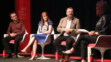 (From left) Professor of Forensic Genetics Dennis McNevin, Genetic Counsellor Aideen McInerney-Leo, Bioethicist Andrew Crowden and moderator ABC presenter Natasha Mitchell.