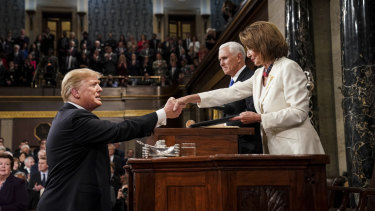 House Speaker Nancy Pelosi shakes hands with President Donald Trump at the State of the Union address.