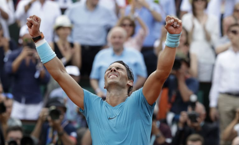 Rafael Nadal celebrates his 11th French Open win on Sunday.
