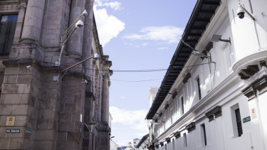 Cameras on a street in Ecuador in 2018. Cameras across the country send footage to monitoring centres to be examined by police and domestic intelligence.