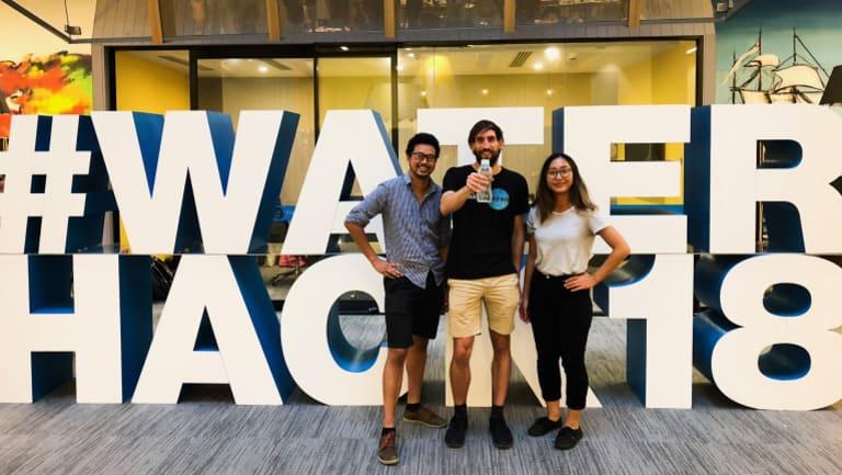 RenuWater team members Justin Rahardjo, Michael Wood and Chloe Leung at WaterHack.