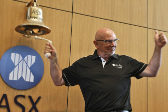 Nuix CEO Rod Vawdrey at the bell ringing ceremony at the ASX. Nuix soared on its debut on Friday.