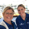 New job: NSW halfback Maddie Studdon with her mum Joanne working for Harbour City Ferries.