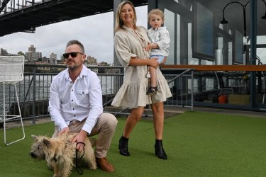 "Dan and Amelie Knox with their son Darcy and ""scout"" the dog at Pier One which they are having a staycation."