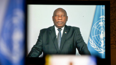 Cyril Ramaphosa, South Africa's president, speaks in a prerecorded video during the United Nations General Assembly via live stream.