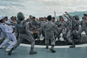 The crew of an Indonesian Maritime Security (Bakamla) boat prepare for a patrol of the North Natuna Sea.