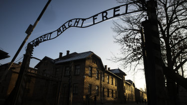 The main entrance at the former Nazi death camp of Auschwitz in Poland, with the inscription, 'Arbeit Macht Frei', which translates into 'Work will set you free'.