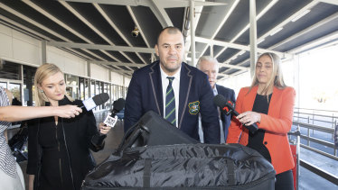 Cheika arrives at Sydney airport after Australia's quarter-final exit at the 2019 World Cup.