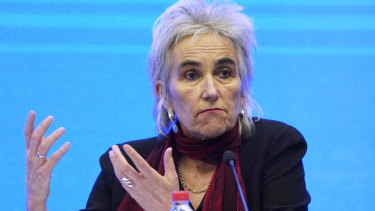 Dutch virologist Marion Koopmans at the World Health Organisation briefing on its investigation in Wuhan.