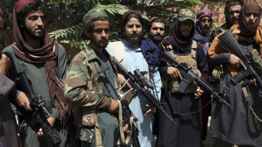 Taliban fighters pose for photograph in Wazir Akbar Khan, Kabul, Afghanistan. The group has inherited US-supplied weapons and technology abandoned and/or surrendered by Afghan forces.