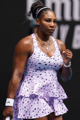 Serena Williams in the dress by Melbourne-based Cassie Byrnes, who worked with Nike for 18 months on the Australian Open collection.