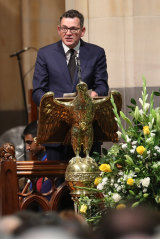 Premier Daniel Andrews paying tribute to John Cain at his memorial service earlier this month.