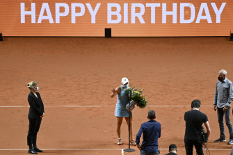 Ash Barty was given a bouquet of flowers after her win to celebrate her birthday.