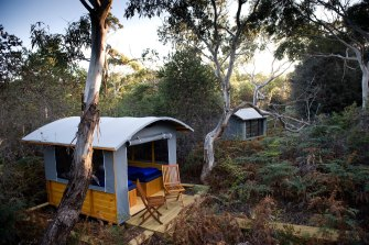 One of the huts on the Maria Island Walk trail.