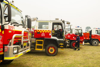 NSW Rural Fire Service in preparation for the dangerous conditions on Saturday at the  Milton RFS staging area in the Shoalhaven.