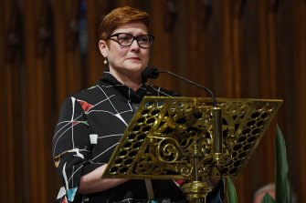 An emotional Senator Marise Payne speaks about her former boss John Fahey.