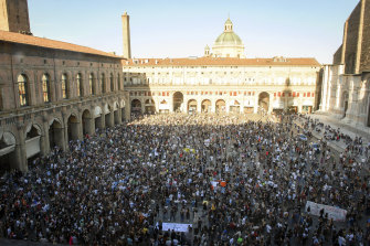 Protesters in Bologna, Italy.