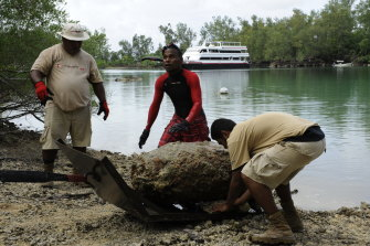 A thousand-pound US bomb pulled out of a lagoon on the southern tip of Peleliu, part of the Republic of Palau. This bomb was one of 40 found in the lagoon, a popular diving site with tourists.