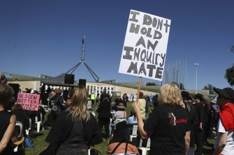 Women's March 4 Justice protest at Parliament House in Canberra on Monday.