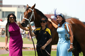 Trainer Natalie Young, right, with Letzbeglam.