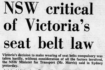 The seatbelt law had its critics but has now been adopted across Australia and globally.
