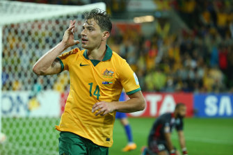 James Troisi celebrates after scoring for the Socceroos against Kuwait at the 2015 Asian Cup.
