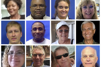 """The 12 victims of the Virginia Beach shooting. Top row from left are Laquita C. Brown, Ryan Keith Cox, Tara Welch Gallagher and Mary Louise Gayle. Middle row from left are Alexander Mikhail Gusev, Joshua A. Hardy, Michelle """"Missy"""" Langer and Richard H. Nettleton. Bottom row from left are Katherine A. Nixon, Christopher Kelly Rapp, Herbert """"Bert"""" Snelling and Robert """"Bobby"""" Williams."""
