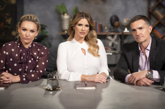 Married At First Sight relationship experts Mel Schilling, left, Alessandra Rampolla and John Aiken.