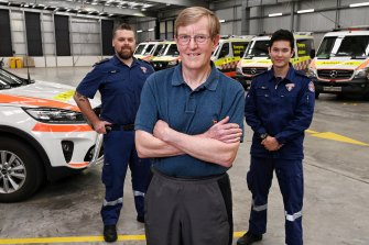 Ron Gallagher's heart was shocked back to life by a defibrillator at a Sydney gym while intensive care paramedics Evan Baker and Tim Leong from NSW Ambulance's Artarmon station raced to the scene to get him to hospital.